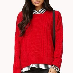 Forever 21 Classic Cable Knit Sweater (Red)